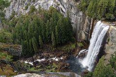 Vernal Fall Rainbow. A rainbow is showing in Yosemite`s Vernal Fall Stock Photo