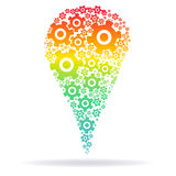 Rainbow silhouette of the  cog gears Royalty Free Stock Photography