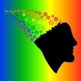 Rainbow silhouette of the head, brain, and cog gears Vector Illu Royalty Free Stock Images