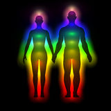 Rainbow silhouette of human body with aura - woman and man. Illustration of rainbow silhouette of human body with aura - woman and man stock illustration
