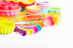 Rainbow silicone confectionery utensils. On a white background Royalty Free Stock Images