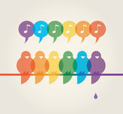 Rainbow singing birds and poop Royalty Free Stock Photo
