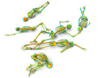 Rainbow skeletons group. 3D render illustration of a group of skeletons colored with multiple rainbow colors. The composition is isolated on a white background Stock Illustration