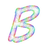 Rainbow sketch font design - letter B Royalty Free Stock Image