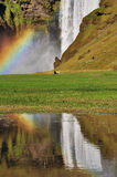 Rainbow at Skogafoss Iceland.