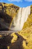 Rainbow at Skogafoss waterfall Iceland Stock Photos