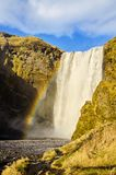 Rainbow at Skogafoss waterfall Iceland Stock Image