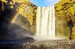 Rainbow at Skogafoss waterfall Iceland Royalty Free Stock Photos