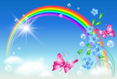 Rainbow in the sky stock illustration