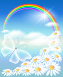 Rainbow in the sky royalty free illustration