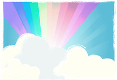 Rainbow in the sky. With soft clouds + vector eps file Royalty Free Stock Photos