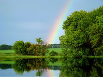 Rainbow in the sky. The multi-colored rainbow shines in the sky Royalty Free Stock Photo