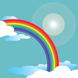 Rainbow and sky. Rainbow and blue sky with flare vector Royalty Free Stock Photography