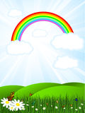 Rainbow sky. Sunny landscape with rainbow sky and butterflies vector illustration