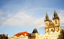 Rainbow in the sky. Ancient tower Royalty Free Stock Photos