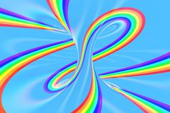 Rainbow in sky bright spiral tunnel. Striped twisted summer optical illusion. Abstract background. 3D render. Spectrum iridescent wallpaper royalty free illustration