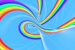 Rainbow in sky bright spiral tunnel. Striped twisted summer optical illusion. Abstract background. 3D render. Spectrum iridescent wallpaper vector illustration