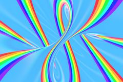 Rainbow in sky bright spiral tunnel. Striped twisted summer optical illusion. Abstract background. 3D render. Spectrum iridescent wallpaper stock illustration