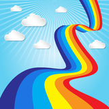 Rainbow and sky with clouds background  Royalty Free Stock Images