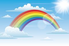 Rainbow in the Sky with Clouds. Beautiful Bright Rainbow in the Sky Royalty Free Stock Photo