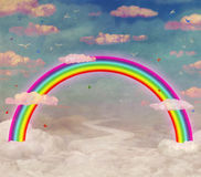Rainbow in the sky with clouds Royalty Free Stock Photos