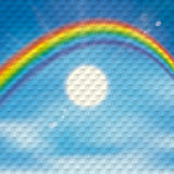 Rainbow Sky Clouds Sun Checkered Background Stock Image