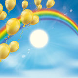 Rainbow Sky Clouds Sun Golden Balloons. Rainbow with golden balloons, clouds, blue sky and sun Stock Images