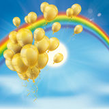 Rainbow Sky Clouds Sun Golden Balloons Bunch. Rainbow with bunch of golden balloons, clouds, blue sky and sun Royalty Free Stock Photography
