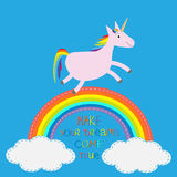 Rainbow in the sky. Cute unicorn. Make your dreams come true.   Stock Photos
