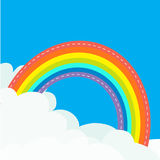 Rainbow in the sky. Dash line contour. Fluffy cloud in corners. Cloudshape. Cloudy weather. LGBT gay symbol sign. Flat design. Blu. E background. Isolated Vector Royalty Free Stock Photos