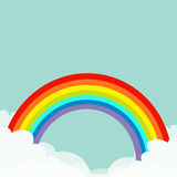 Rainbow in the sky. Fluffy cloud in corners. Cloudshape. Cloudy weather. LGBT gay symbol sign. Flat design. Blue background. Isola. Rainbow in the sky. Fluffy Stock Images