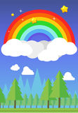 Rainbow on sky and forest background. Vector illustration Stock Photos