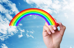 Rainbow in the sky. Hand drawing Rainbow in the sky Royalty Free Stock Photos