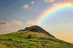 Rainbow, Sky, Highland, Grassland royalty free stock images