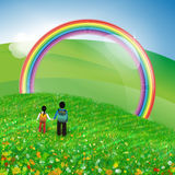 Rainbow sky illustration Stock Photos