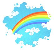 Rainbow in the sky. Illustration of rainbow, blue sky, white clouds and flying butterflies with blank place for your text Royalty Free Stock Photography