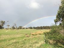 Rainbow, Sky, Meteorological Phenomenon, Grassland royalty free stock image