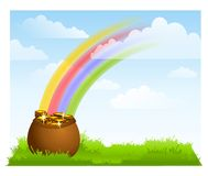 Rainbow Sky Pot of Gold Background Stock Photo