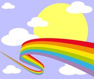 Rainbow in the sky with sun and clouds Stock Illustration