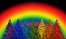 Rainbow, Sky, Tree, Fir stock photos