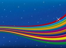 Rainbow sky (vector). Background illustration of rainbow in a dark sky with stars (vector Royalty Free Stock Images