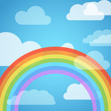Rainbow in the sky with white clouds Stock Photo