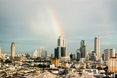Rainbow, skyscraper, downtown, Bangkok cityscapes, Thailand. The rainbow with the skyscrapers in downtown, Bangkok cityscapes, the capital of Thailand in royalty free stock photography