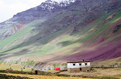 Rainbow slopes, the spiti valley. Multiple hues colour the slopes in india's remote spiti valley  deep in the himalayas Royalty Free Stock Image