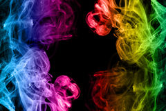 Rainbow smoke abstract on black background Royalty Free Stock Images