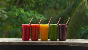Rainbow from smoothies. Watermelon, papaya, mango, spinach and dragon fruit. Smoothies, juices, beverages, drinks. Variety with fresh fruits on a wooden table stock footage