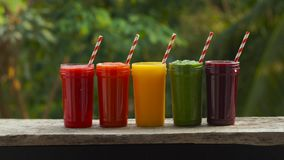 Rainbow from smoothies. Watermelon, papaya, mango, spinach and dragon fruit. Smoothies, juices, beverages, drinks. Variety with fresh fruits on a wooden table stock video footage
