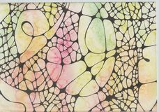 Rainbow snake skin. An abstract background drawing reminiscent of a snake skin. watercolor stains and black graphic drawing stock photography