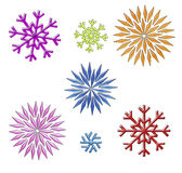 Rainbow snowflakes clip art on white Stock Images