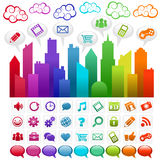 Rainbow Social Media City. Colorful city with social media icons Royalty Free Stock Photo